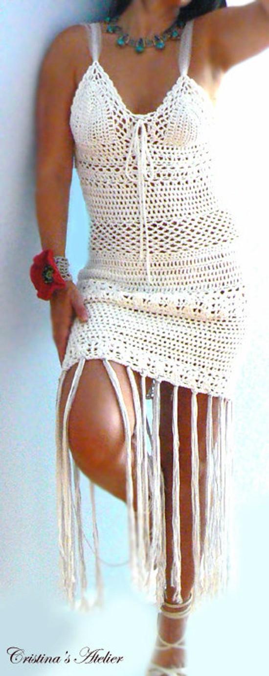 Vestido de crochê branco