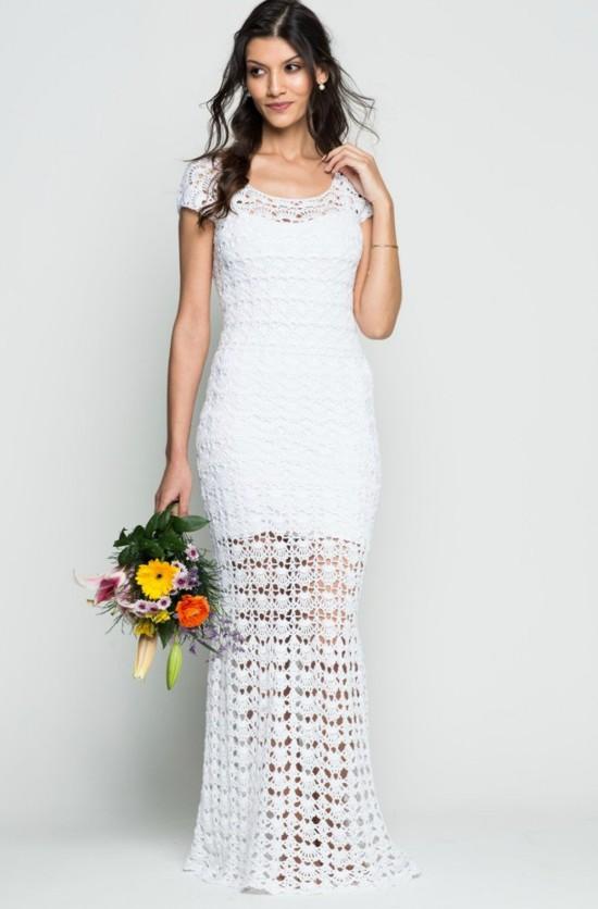 Vestido de noiva de crochê branco