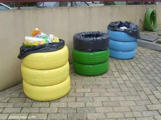 Decoração com pneus velhos