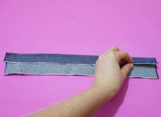 Como fazer faixa de cabelo com retalho jeans