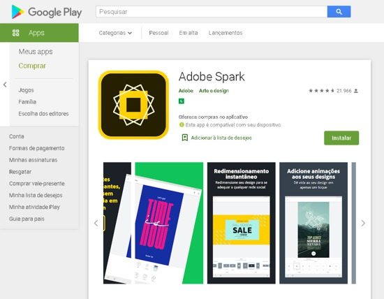 Adobe Spark para editar fotos