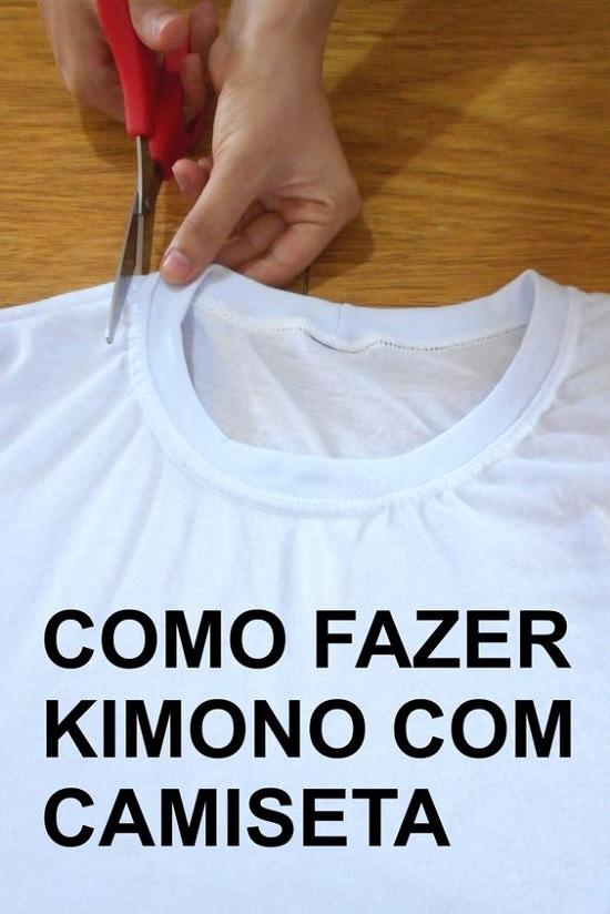 como fazer kimono usando camiseta