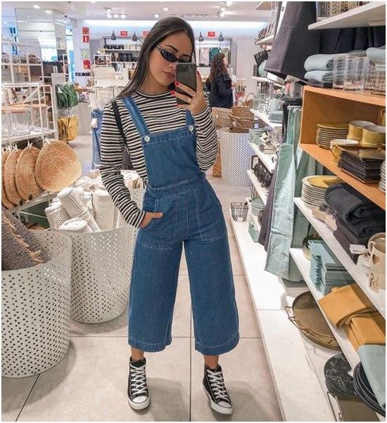 Como usar jardineira jeans