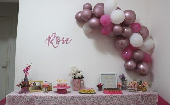Decoração festa simples rose gold, rosa e dourado