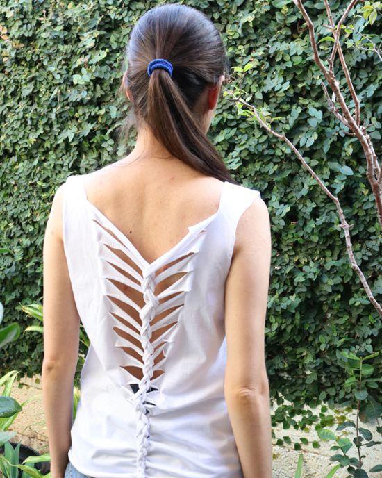 Como fazer camiseta com tiras trançadas nas costas