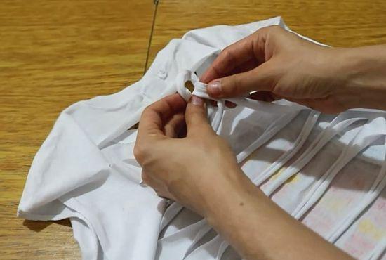 Como fazer camiseta com tiras trançadas nas costas - camiseta customizada
