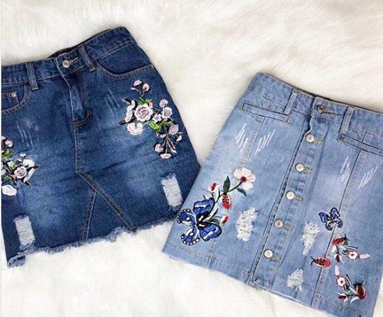 Como customizar saia jeans