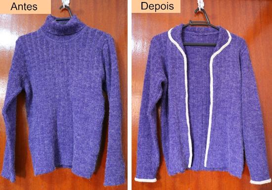 como cortar blusa de lã e transformar em casaco sem usar máquina de costura
